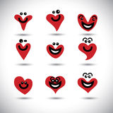 Happy, smiling, lively heart icons collection set - concept vect Stock Photography