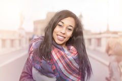 Happy Smiling Long Hair Girl In Rome Royalty Free Stock Photography