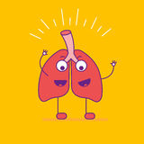 Happy smiling lungs logotype. Cheerful cartoon character logo in Stock Photos