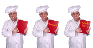 Happy Smiling Male Chef Recipes Cook Book Isolated. What's for dinner? Male chef or cook holds either a cookbook or book of recipes. Blank version is also Stock Photos