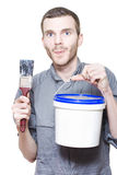 Happy Smiling Male Painter Holding Paint Tools Royalty Free Stock Images