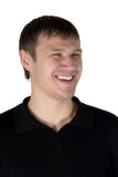 Happy, smiling the man. The isolated portrait on a white background royalty free stock image