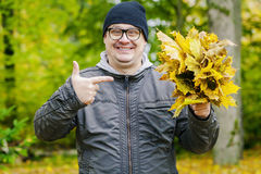 Happy,smiling man with autumn leaves in the park Stock Image