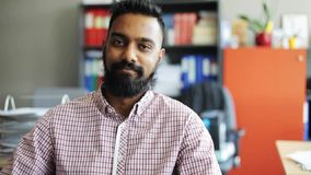 Happy smiling man with beard at office stock footage
