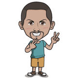 Happy Man Cartoon Character - Two-finger Hand Sign. Happy smiling man in blue clothes and pants, standing and showing two-finger hand sign. Cartoon or Comic Royalty Free Stock Photo