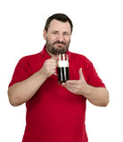 Bearded chap is going to drink stout. Tankard in one gulp Stock Image