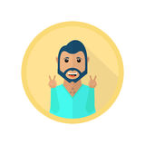 Happy smiling man showing peace sign. Vector icon in flat style Stock Image