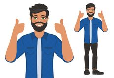 Happy smiling man shows thumbs up. Gesture, symbol or sign Like, cool, agree, approve. Bearded dark-haired guy with green eyes in a shirt. Cartoon positive vector illustration