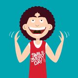 Happy Smiling Man with Smile Every Day Slogan. On Shirt. Vector Flat Design Illustration Vector Illustration