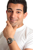 Happy Smiling Man Wearing Watch Royalty Free Stock Photography
