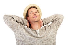 Happy smiling men with hat Stock Photography
