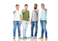 Happy smiling men pointing finger to you Royalty Free Stock Photo