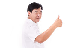 Happy, smiling middle age man giving thumb up Royalty Free Stock Image
