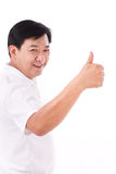 Happy, smiling middle age man giving thumb up Stock Image