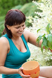 Happy smiling middle age woman gardening Stock Photo