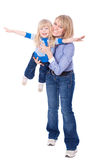 Happy Smiling Mom And Child Fly Royalty Free Stock Photos