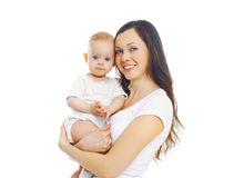 Happy smiling mother with baby over white Stock Image