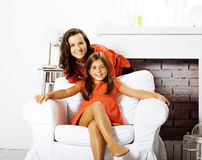 Happy smiling mother with little cute daughter at home interior, Stock Photos