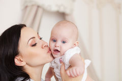 Happy smiling mother with six month old baby girl Royalty Free Stock Image