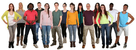 Happy smiling multi ethnic group of young people isolated. On a white background Stock Photo