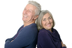 Happy smiling old couple. On white background royalty free stock images