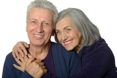 Happy smiling old couple. On white background stock photos