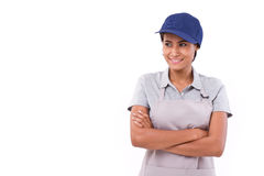 Happy, smiling, optimistic worker looking away Stock Photography