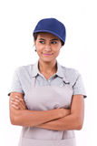 Happy, smiling, optimistic worker looking away Stock Images
