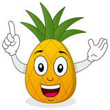 Happy Smiling Pineapple Character. A funny cartoon pineapple character smiling, isolated on white background. Eps file available Royalty Free Stock Images