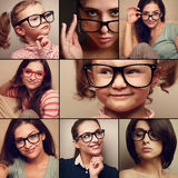 Happy smiling portrait collage collection from people in glasses looking. Fashion style of different background Royalty Free Stock Image