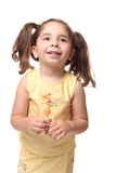 Happy smiling preschool girl in pigtails Stock Photos