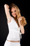 Happy smiling pretty blonde woman Stock Images