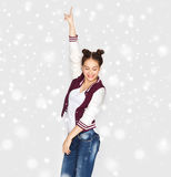 Happy smiling pretty teenage girl dancing royalty free stock photo
