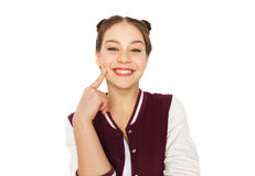 Happy smiling pretty teenage girl Stock Photos