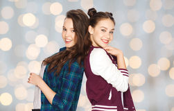 Happy smiling pretty teenage girls having fun Stock Image