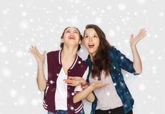 Happy smiling pretty teenage girls having fun Royalty Free Stock Photography
