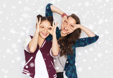 Happy smiling pretty teenage girls having fun Royalty Free Stock Photos