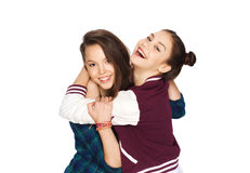 Happy smiling pretty teenage girls hugging Royalty Free Stock Image