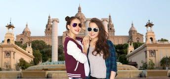 Happy smiling pretty teenage girls in sunglasses Stock Photo