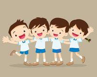 Happy smiling pupil hugging. Friends.Group of Childern stand hugging.Four pupil boy and girl be happy Royalty Free Stock Images