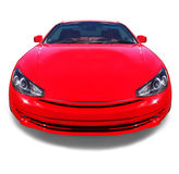 Happy smiling red car. White background. The red modern sports luxury car looks like smiling and happy on the white background. Concept Stock Photos