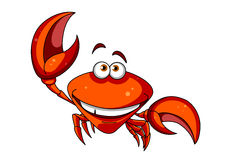 Happy smiling red cartoon crab Stock Images