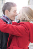 Happy Smiling Romantic Couple in Love on the Street Royalty Free Stock Photo