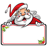 Happy smiling Santa Claus cartoon character presenting message o Royalty Free Stock Images