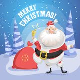Happy smiling Santa Claus in forest with gift sack and ring bell. Merry Christmas poster. Holiday simple gradient illustration Royalty Free Stock Images