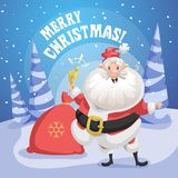 Happy smiling Santa Claus in forest with gift sack and ring bell. Merry Christmas poster. Holiday simple gradient illustration Stock Photography