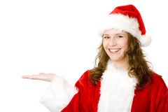 Happy Smiling Santa Claus Woman Holding Open Hand Stock Photo
