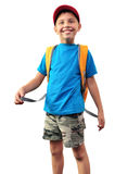 Happy smiling schoolboy with backpack isolated over white Royalty Free Stock Photos