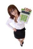 Happy smiling secretary. Holding calculator machine, full length portrait isolated on white Royalty Free Stock Photo