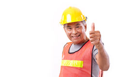 Happy, smiling senior construction worker giving thumb up Royalty Free Stock Photography